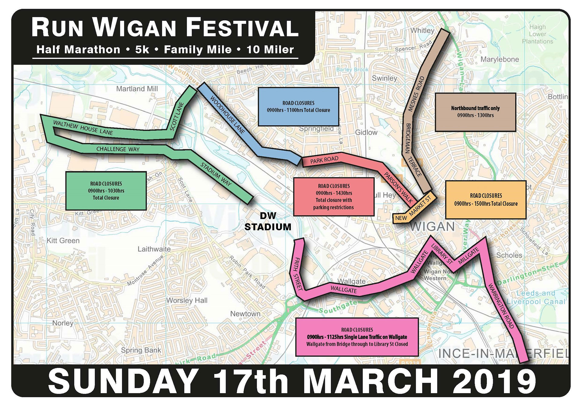Run Wigan Festival road closures
